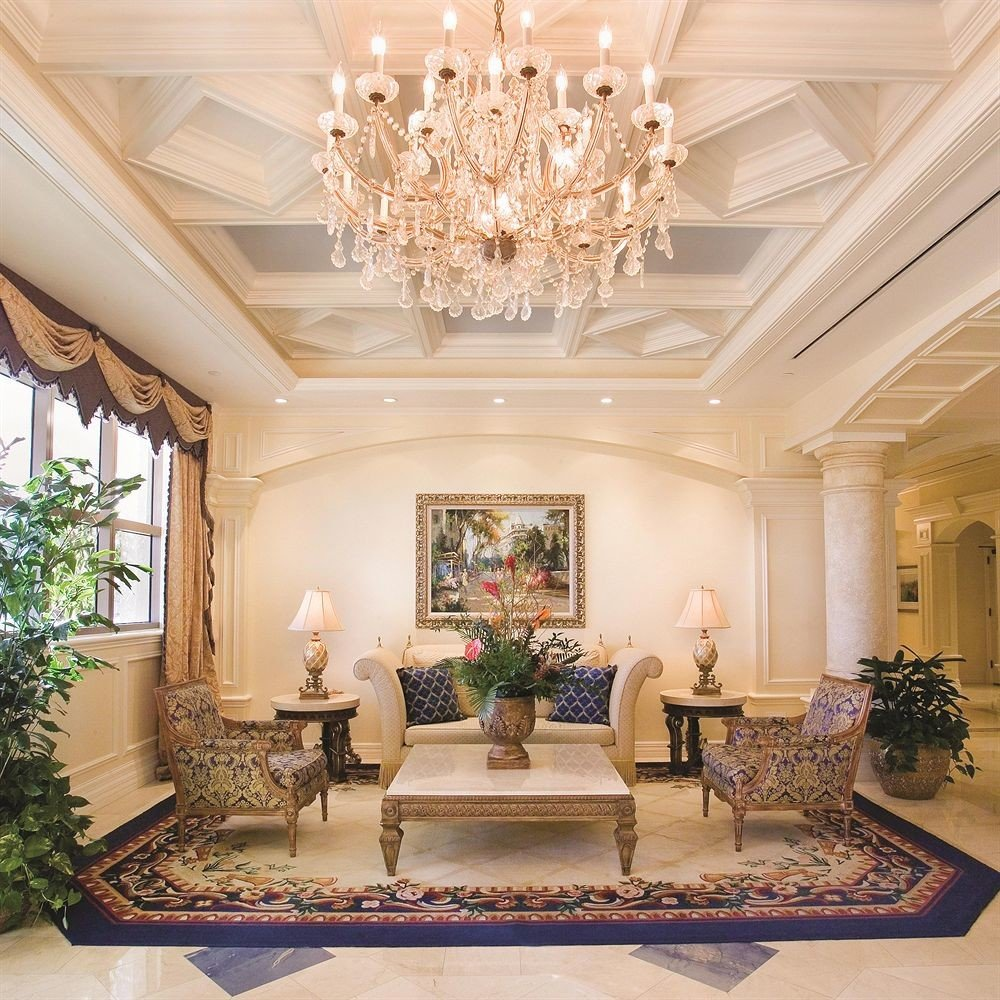 Elegant Historic Lobby Lounge Waterfront property living room mansion home lighting palace ballroom function hall hall