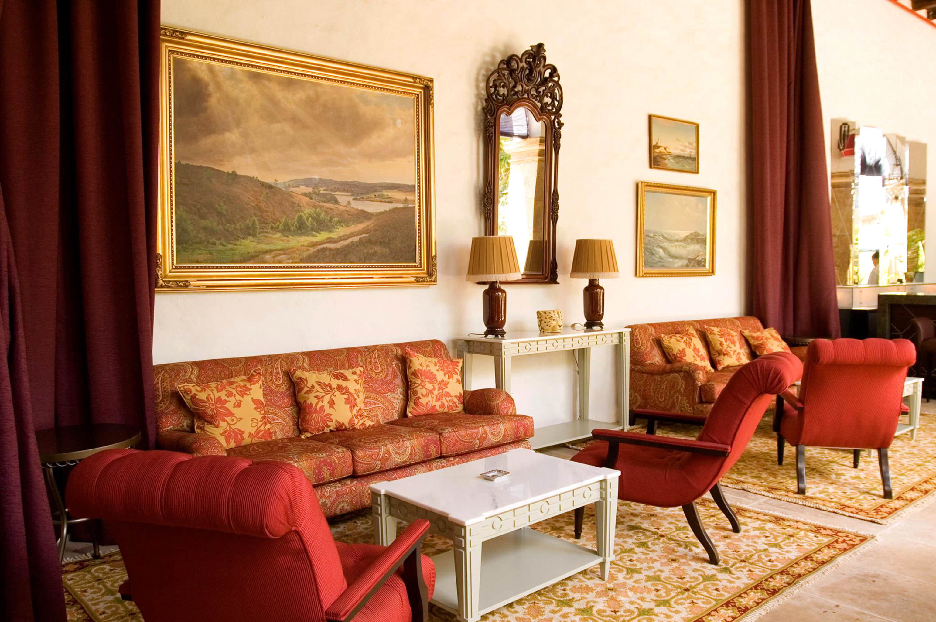 Elegant Historic Lounge sofa chair living room property home house red Suite cottage Villa