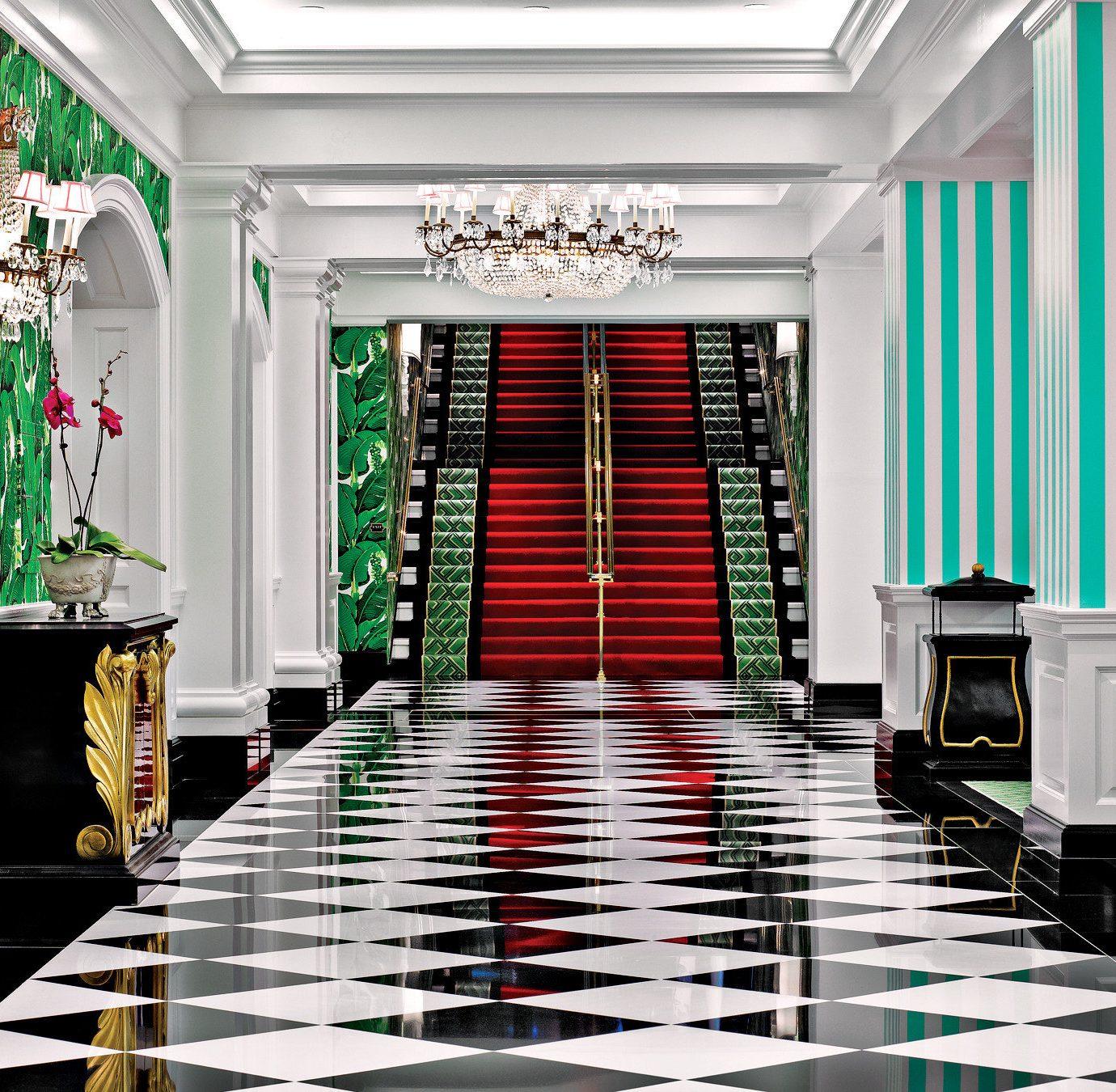 Elegant Lobby Lounge Modern building flooring hall aisle living room