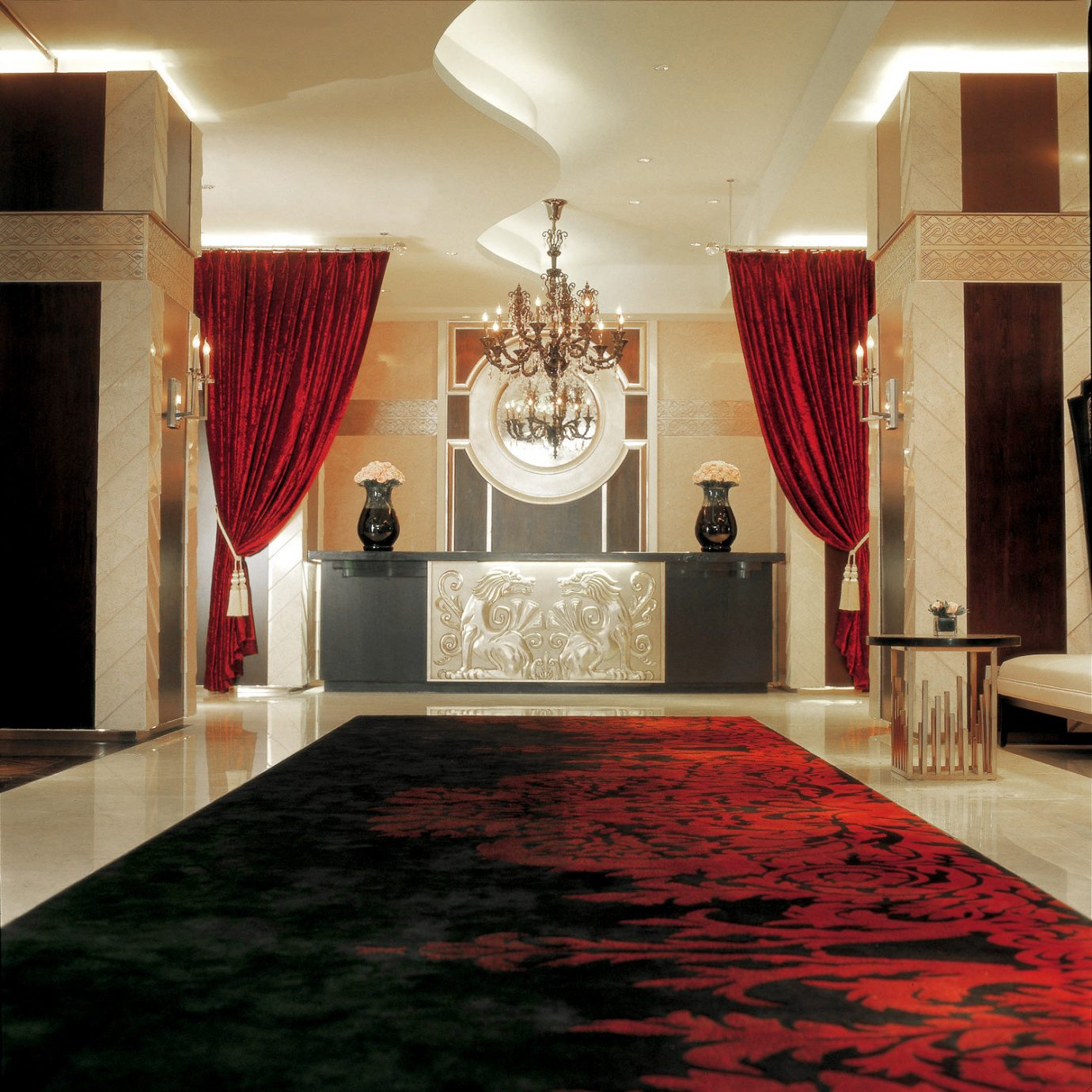 Elegant Lobby Luxury red flooring living room home wood flooring hall carpet rug