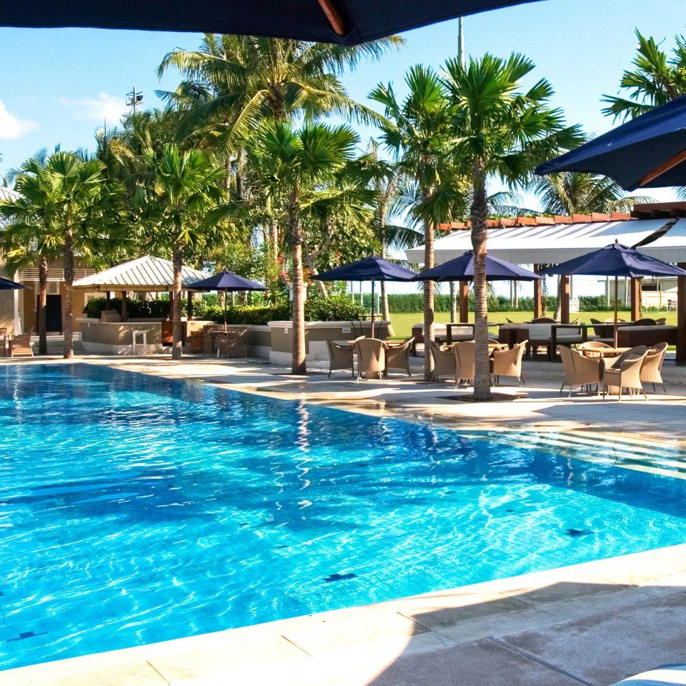 Elegant Lounge Luxury Pool water umbrella sky tree swimming blue swimming pool Resort leisure property aquatic mammal water sport mammal resort town condominium dolphin caribbean Villa day