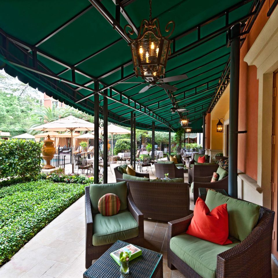 Elegant Lounge Outdoors Patio Terrace green Resort restaurant outdoor structure cottage porch backyard