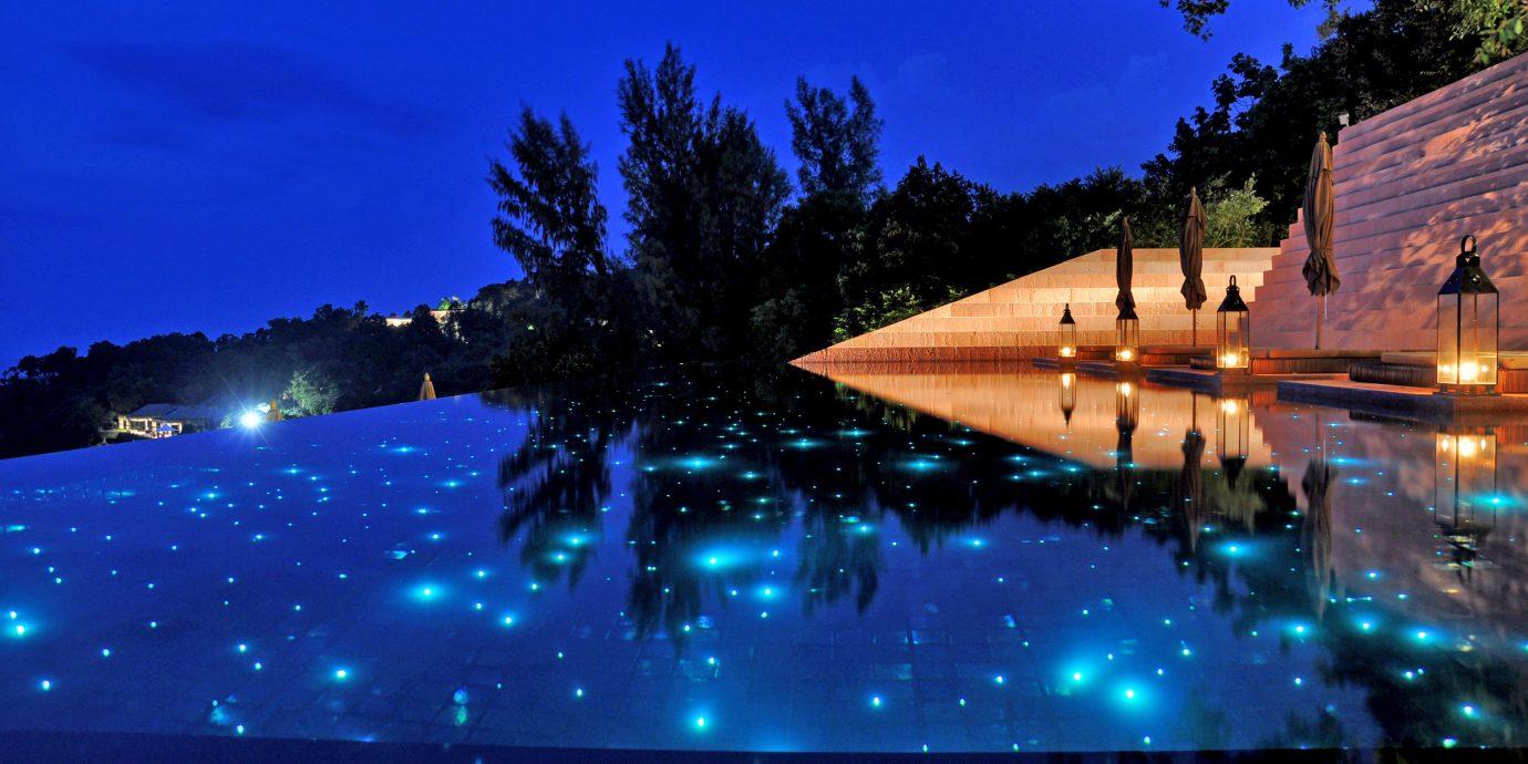 Elegant Luxury Modern Pool Romantic tree sky light night atmosphere of earth evening sunlight screenshot dusk