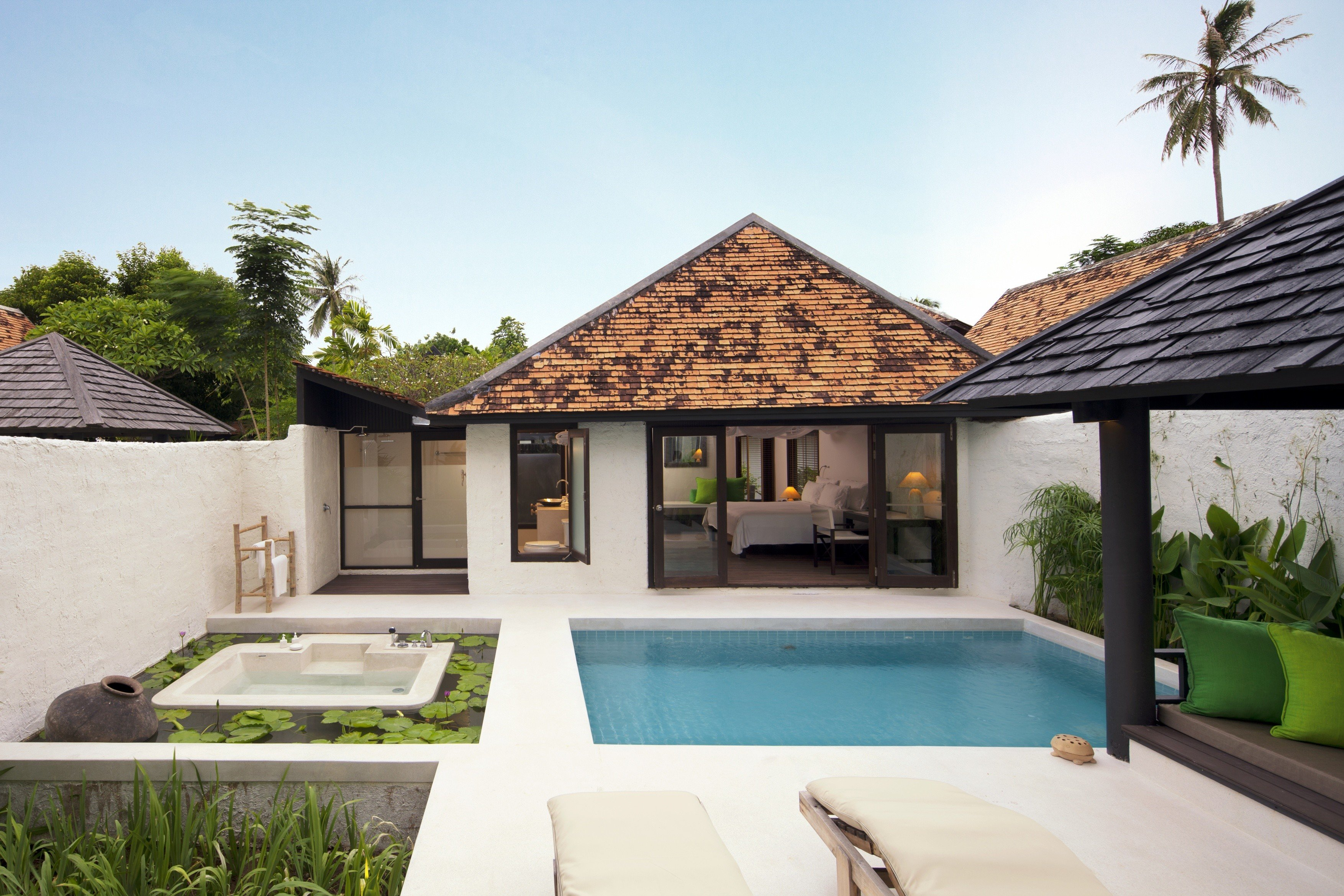 Elegant Luxury Modern Pool Villa building property house home green Resort swimming pool cottage backyard farmhouse mansion outdoor structure condominium