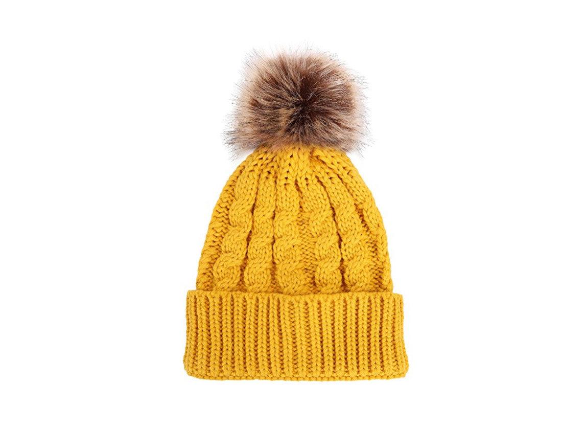 Travel Shop yellow woolen headgear knit cap fur cap beanie fur clothing wool brush tool hat