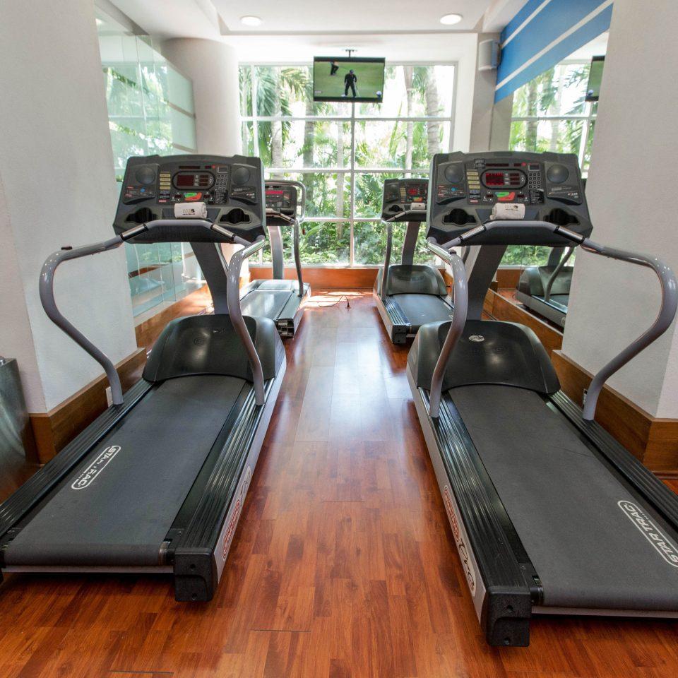 wooden exercise machine recreation room