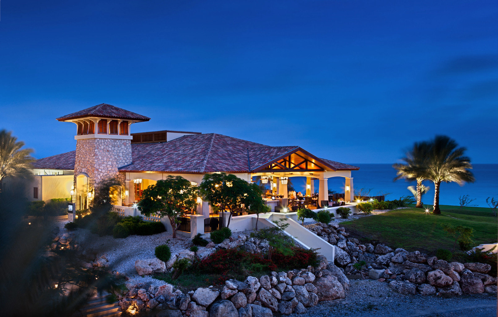 Exterior Family Luxury Resort Scenic views Waterfront house rock Town home residential area evening landscape Village mansion