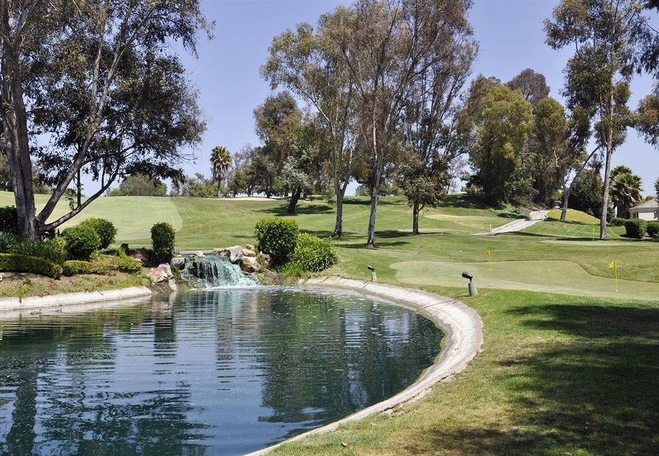Exterior Garden Grounds Scenic views Waterfront grass tree structure Nature sport venue pond park outdoor recreation golf course golf club recreation lawn Lake grassy plant surrounded