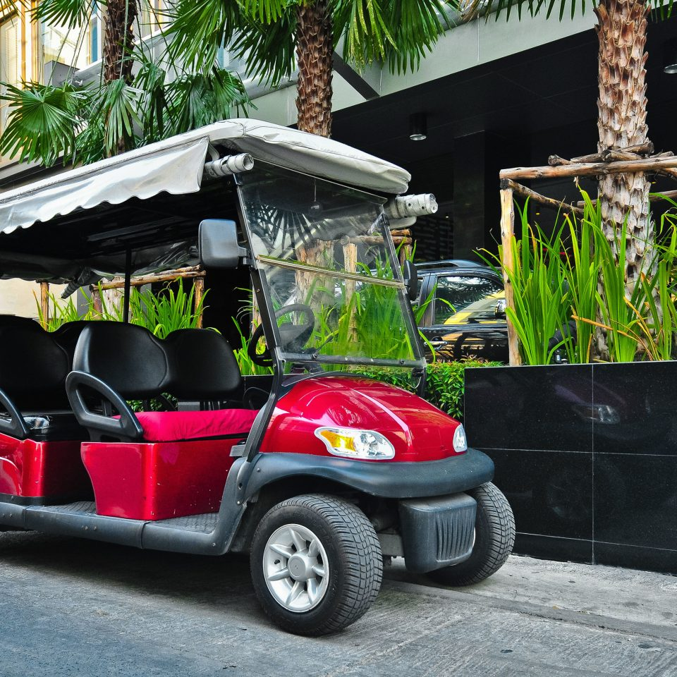 Exterior Golf Luxury Tropical road vehicle golfcart car transport Golf cart red cart pulling