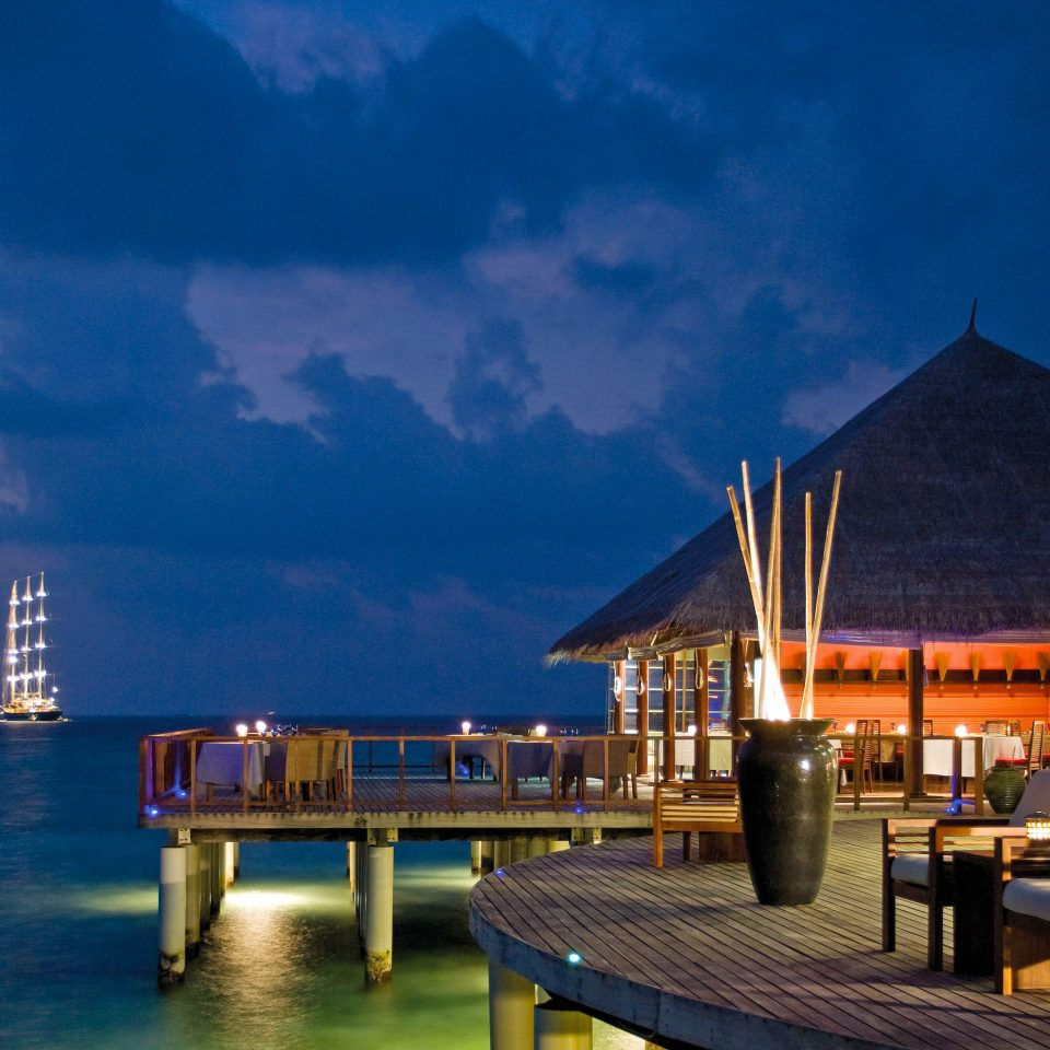 Exterior Grounds Island Luxury Overwater Bungalow Romance Romantic sky night evening Sea dusk cityscape