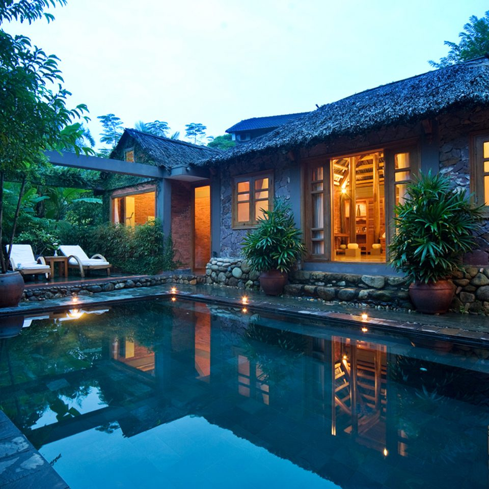 Exterior Grounds Jungle Pool Resort Villa tree swimming pool property house building home backyard mansion cottage