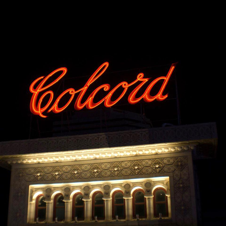 Exterior Historic font night neon sign lighting brand signage light