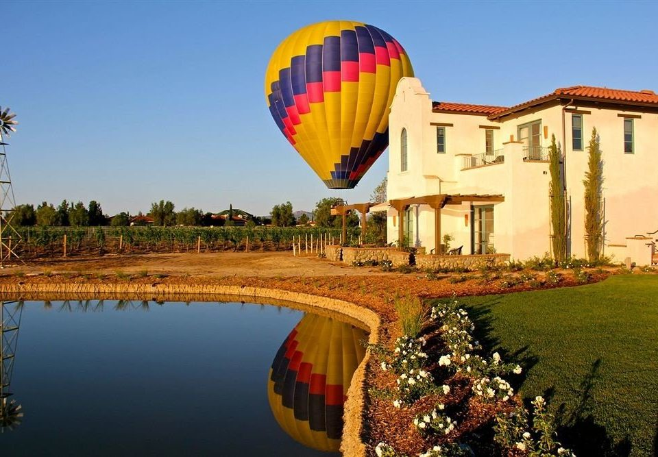 Exterior Inn Winery grass sky aircraft transport hot air ballooning balloon Hot Air Balloon vehicle atmosphere of earth toy colorful