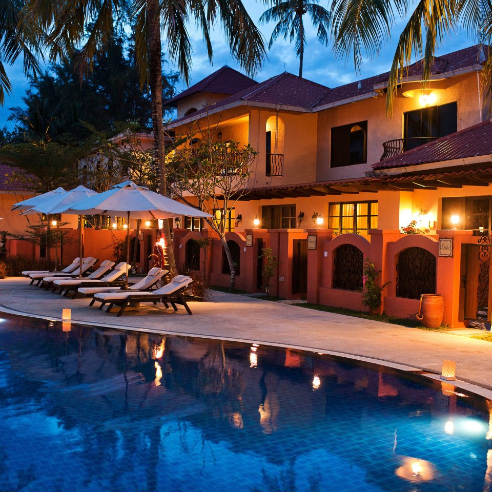 Exterior Lounge Luxury Modern Pool tree Resort leisure swimming pool night resort town landscape lighting lined