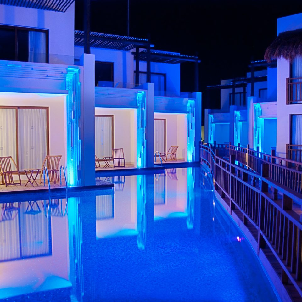 Exterior Lounge Luxury Modern Pool Romantic color blue house light night home swimming pool mansion colorful colored