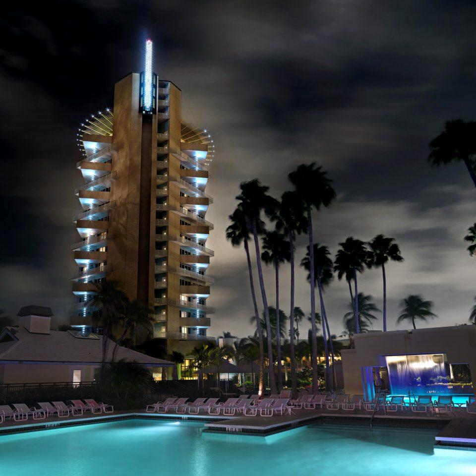 Exterior Lounge Modern Pool night light landmark skyscraper cityscape evening skyline dusk lit Resort