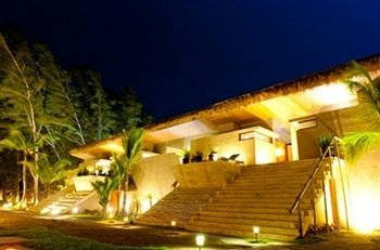 Exterior Luxury Modern Tropical Resort property landscape lighting Villa eco hotel hacienda mansion night