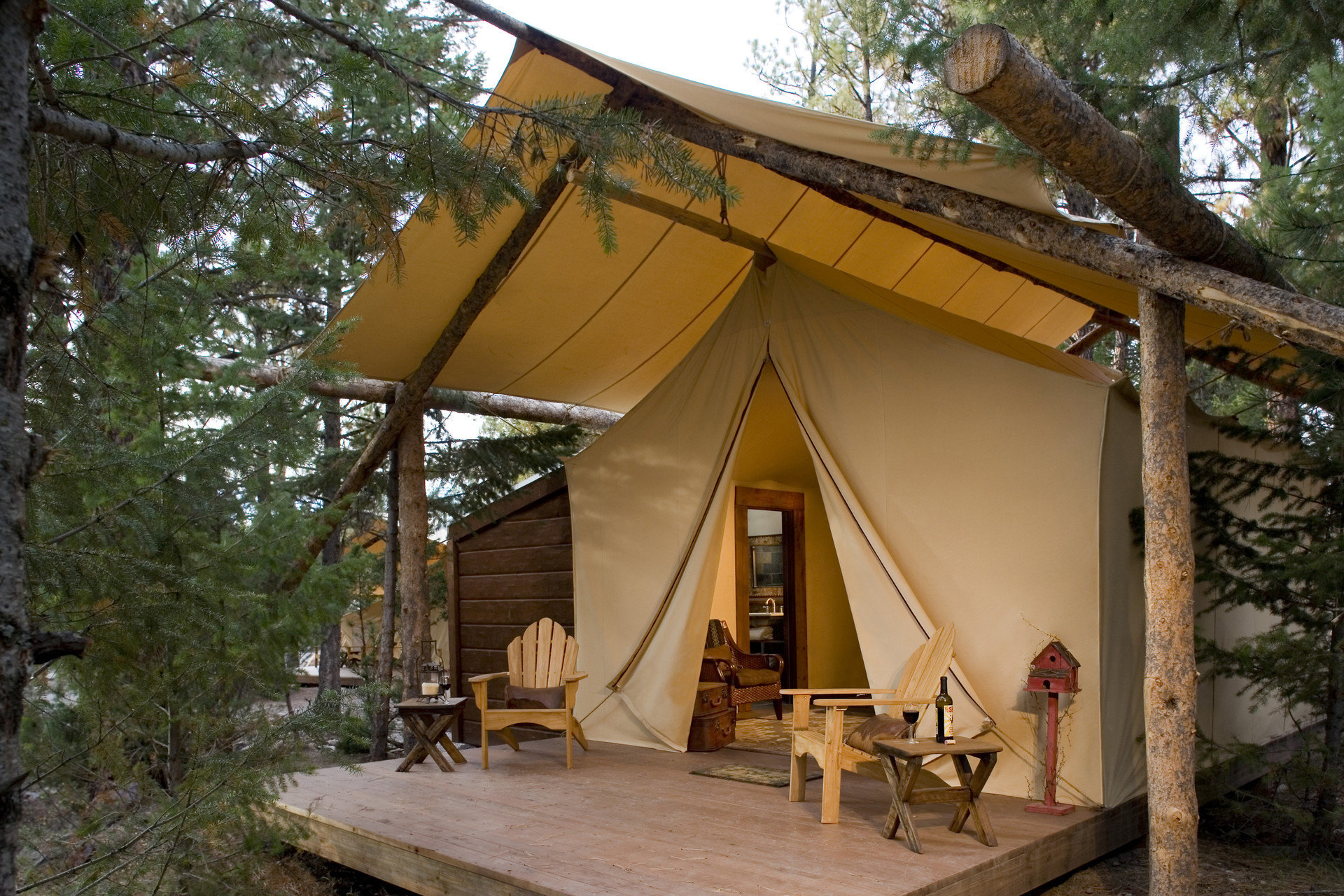 Exterior Luxury Nature Outdoors remote Rustic tent tents wilderness tree house building log cabin hut home cottage outdoor structure shack shrine chapel