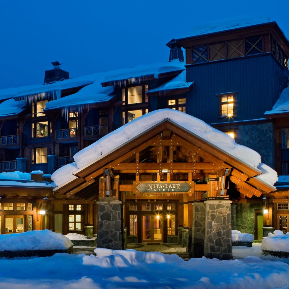 Exterior Nature Romantic Scenic views building sky snow house Resort Town home Winter evening blue sign