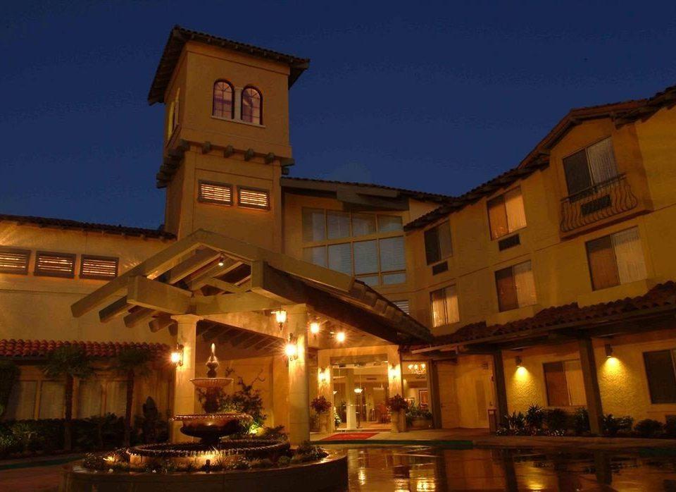 Exterior property building Resort evening restaurant night