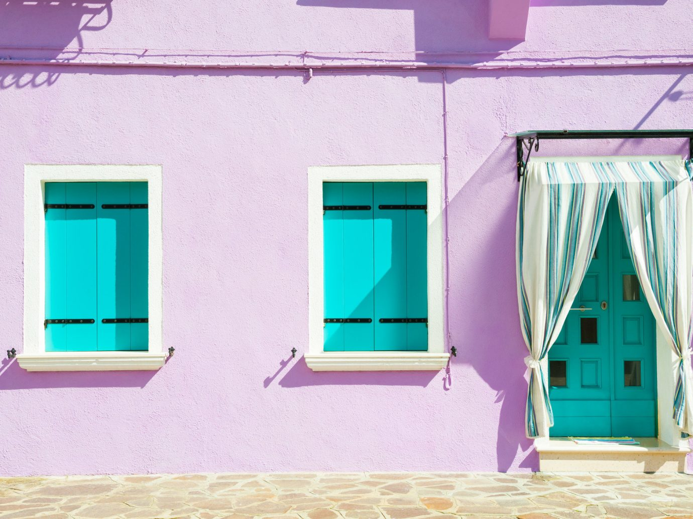 Offbeat building color blue pink room wall house interior design home window facade door Design furniture painted