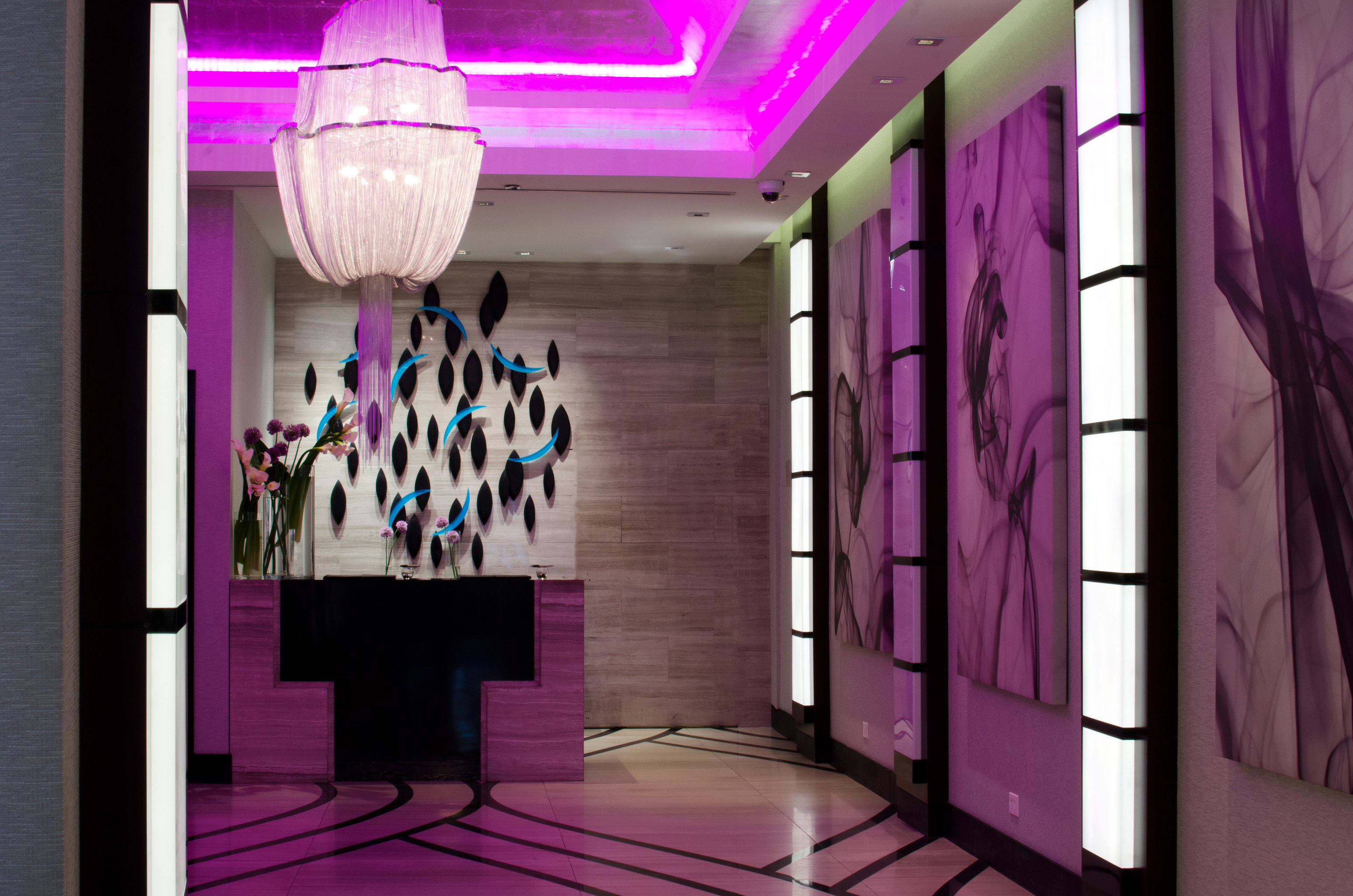 Hip Luxury Modern Travel Trends Trip Ideas color indoor room purple wall interior design Boutique hall display window painted