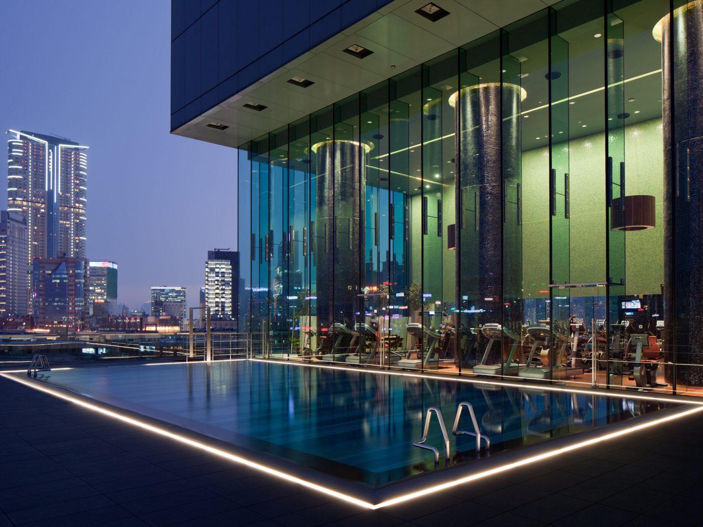 Hotels building outdoor Architecture night condominium lighting convention center reflection headquarters City skyscraper