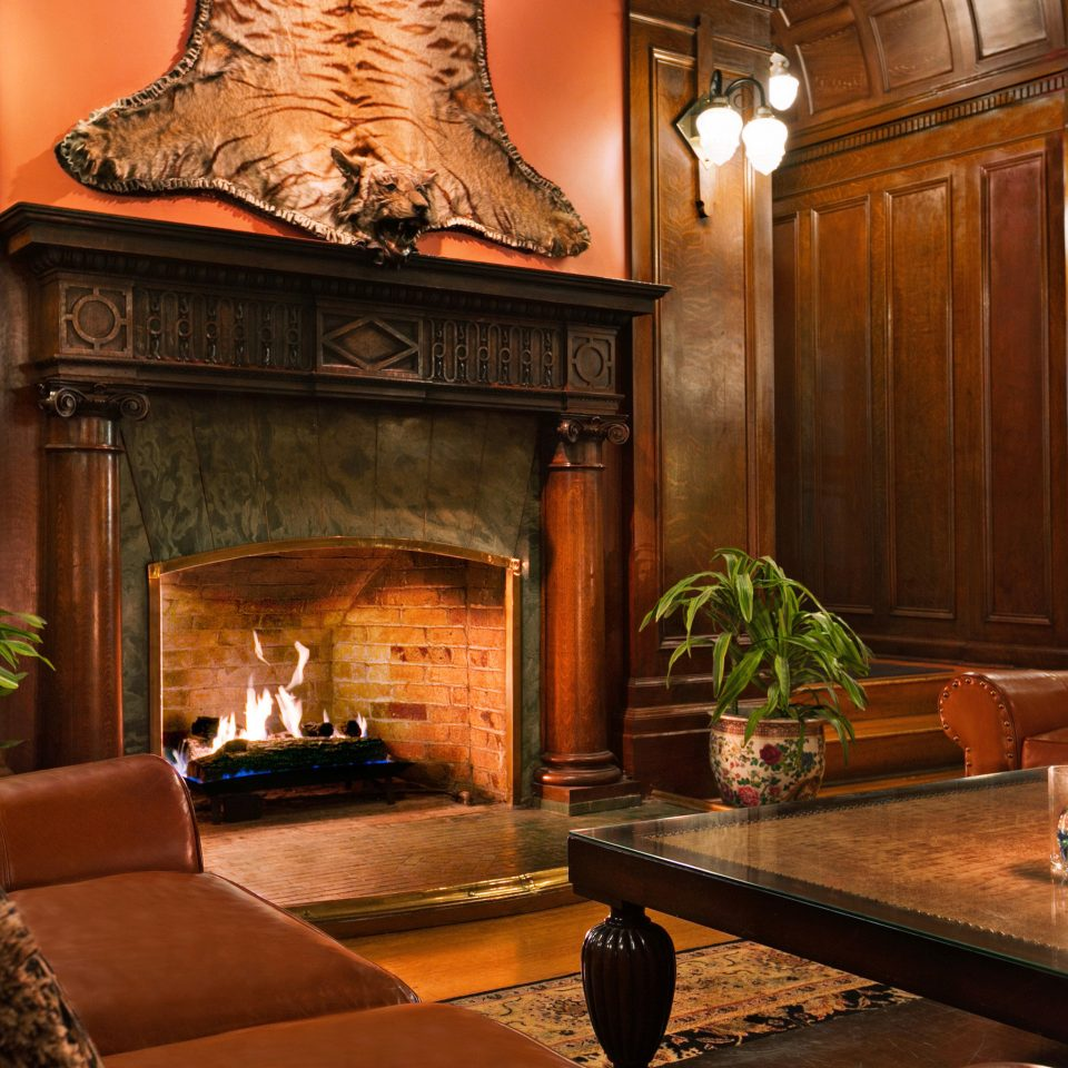 Family Resort Lobby Fireplace living room lighting home hearth mansion