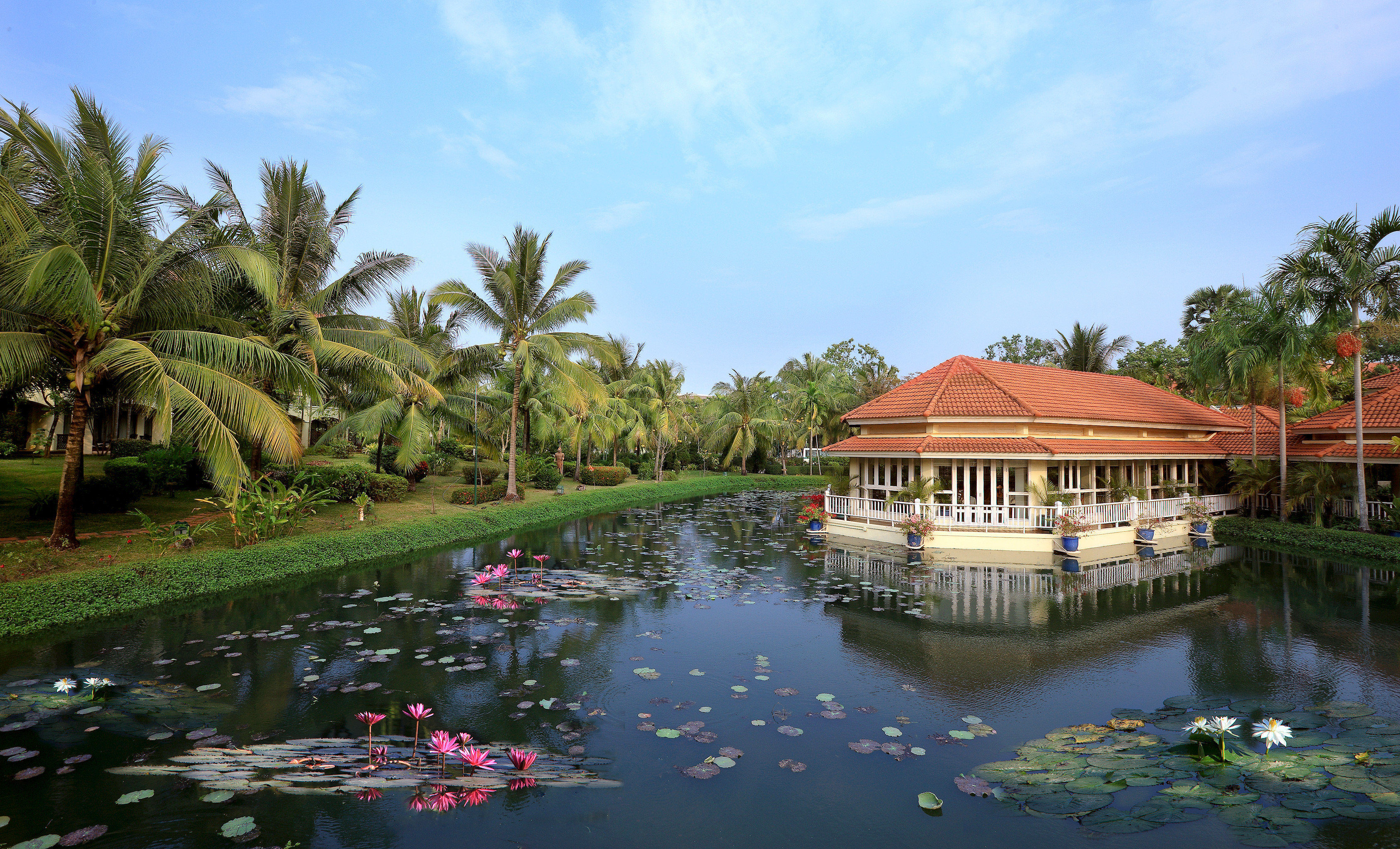Family Grounds Resort Scenic views Waterfront sky water tree Nature River tropics Lake Lagoon Jungle surrounded pond