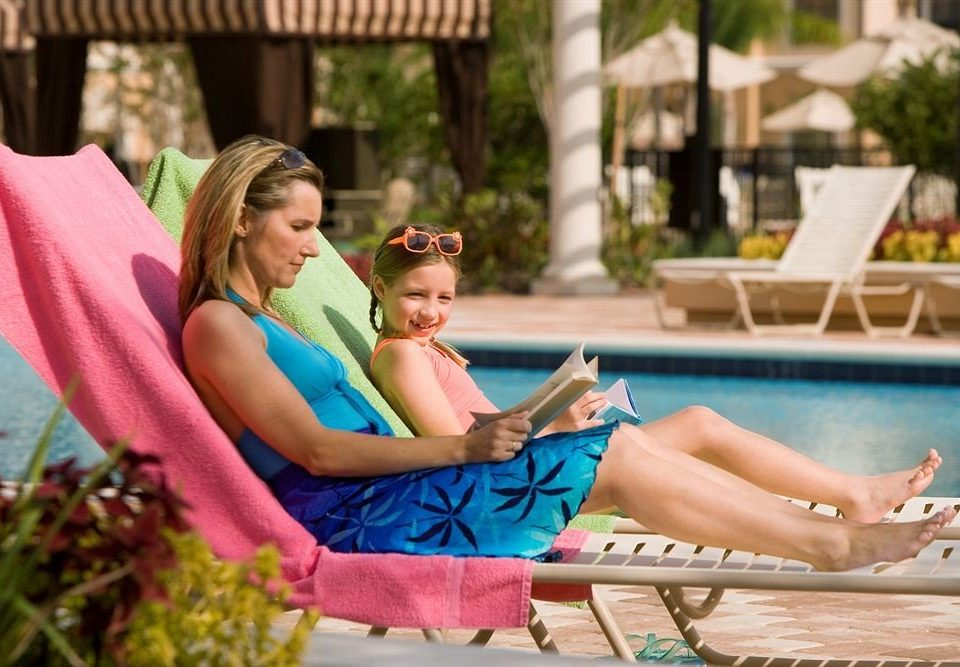Lounge Luxury Pool bench woman sitting leisure park Play lady Family photo shoot