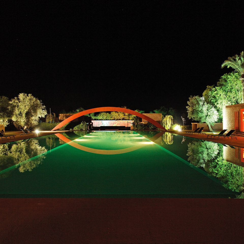 Family Nightlife Play Pool tree night swimming pool lit landscape lighting Resort light screenshot dark