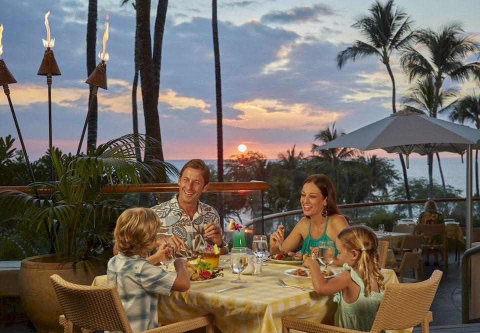 sky sitting leisure Resort restaurant Family enjoying dining table
