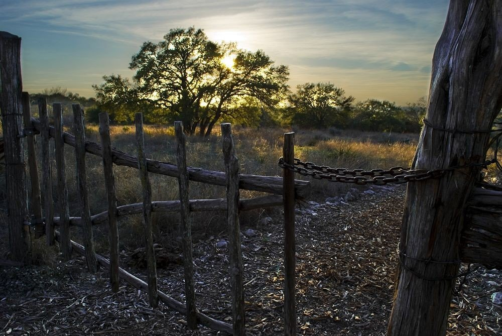 Fence sky grass habitat Nature building tree natural environment morning field season sunlight woody plant rural area wooden evening landscape Sunset autumn outdoor structure home fencing pasture lush