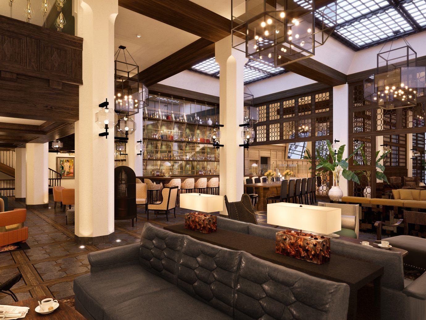 Hotels indoor property Lobby room estate ceiling interior design home restaurant Design living room furniture