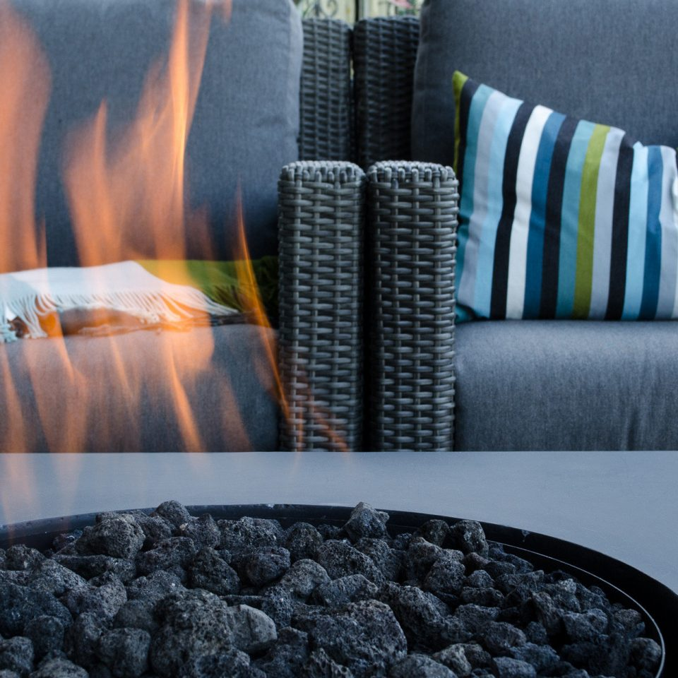 Firepit Fireplace Lounge Modern color blue bed sheet textile flooring material colorful set