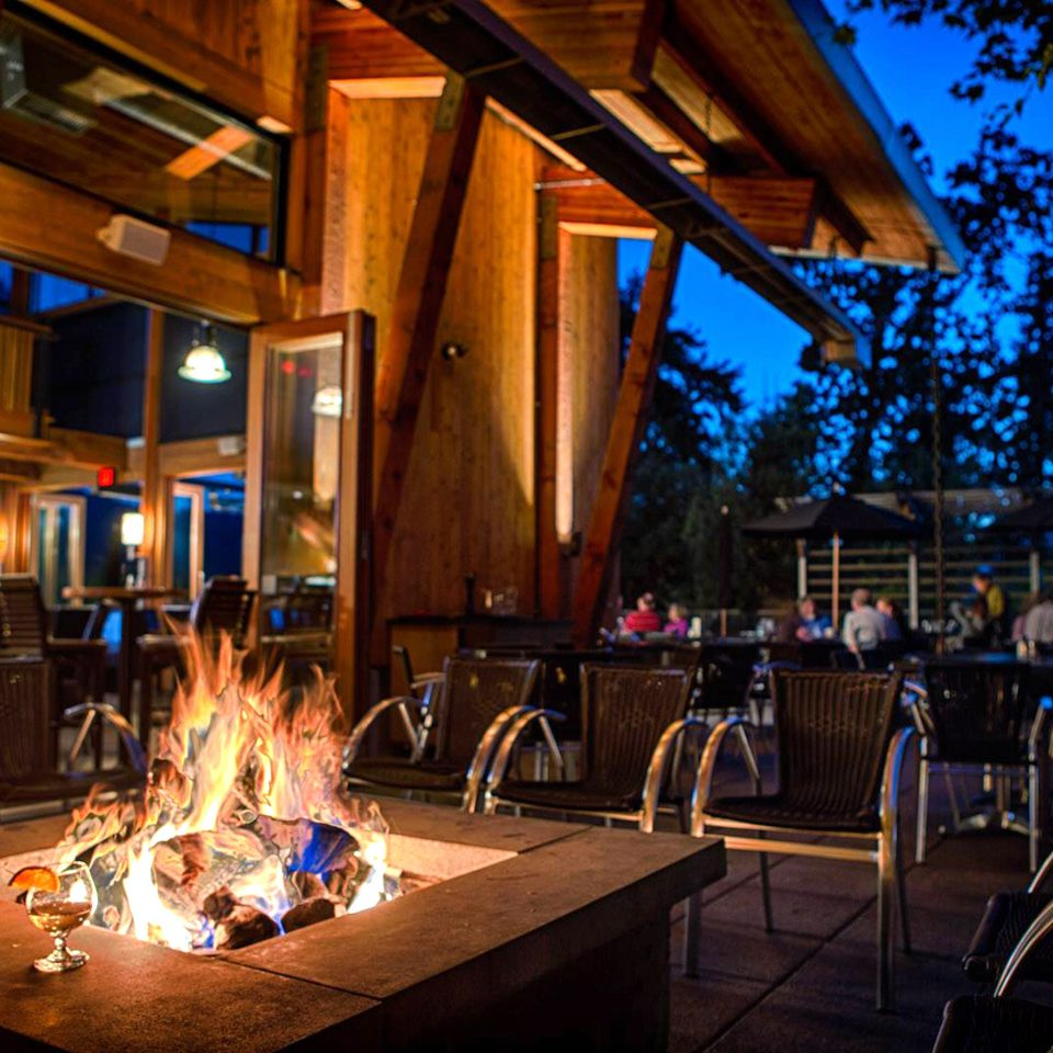 Firepit Modern Outdoor Activities Outdoors Resort Romantic Terrace Waterfront night lighting evening restaurant