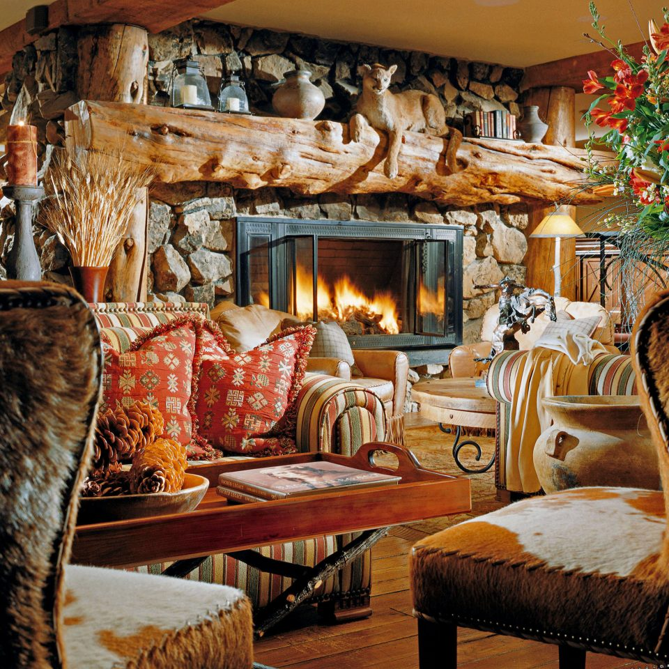 Fireplace living room house home art cottage log cabin