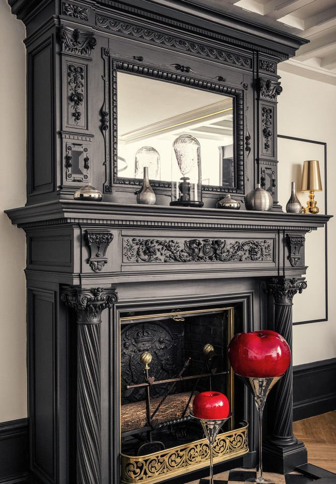 Fireplace hearth red cabinetry living room