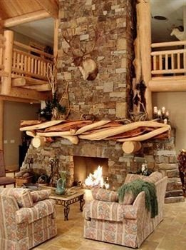 living room Fireplace property cottage log cabin hearth home farmhouse christmas decoration porch