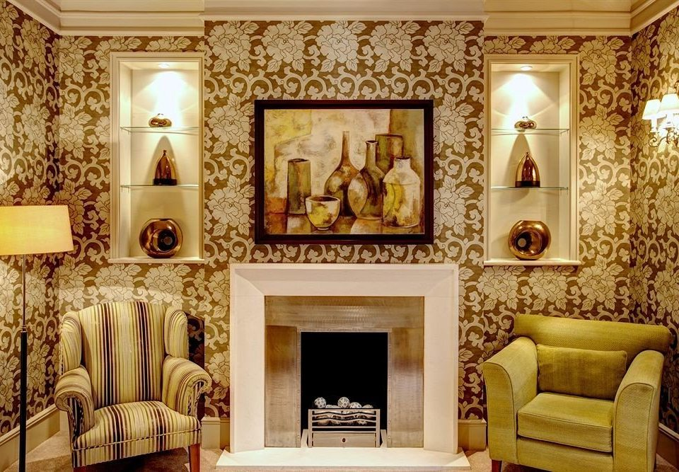 living room Fireplace modern art wallpaper stone colored
