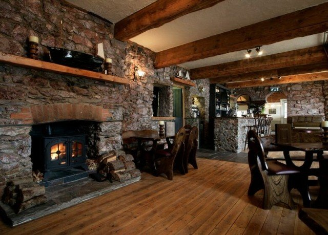 Fireplace property fire cottage living room log cabin home stone