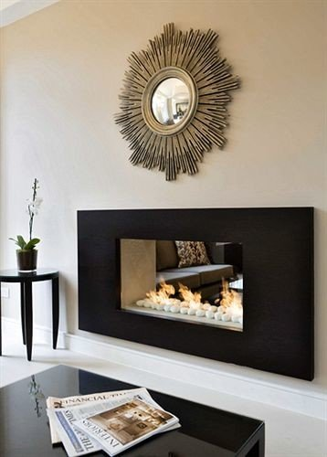 living room hearth Fireplace modern art shelf flat