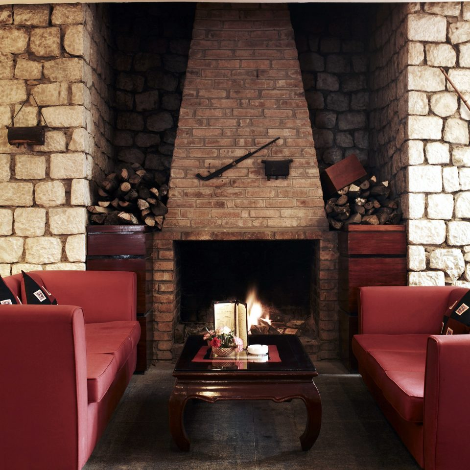 Fireplace Forest Lounge Mountains Nature Romance hearth fire living room red brick cottage stone