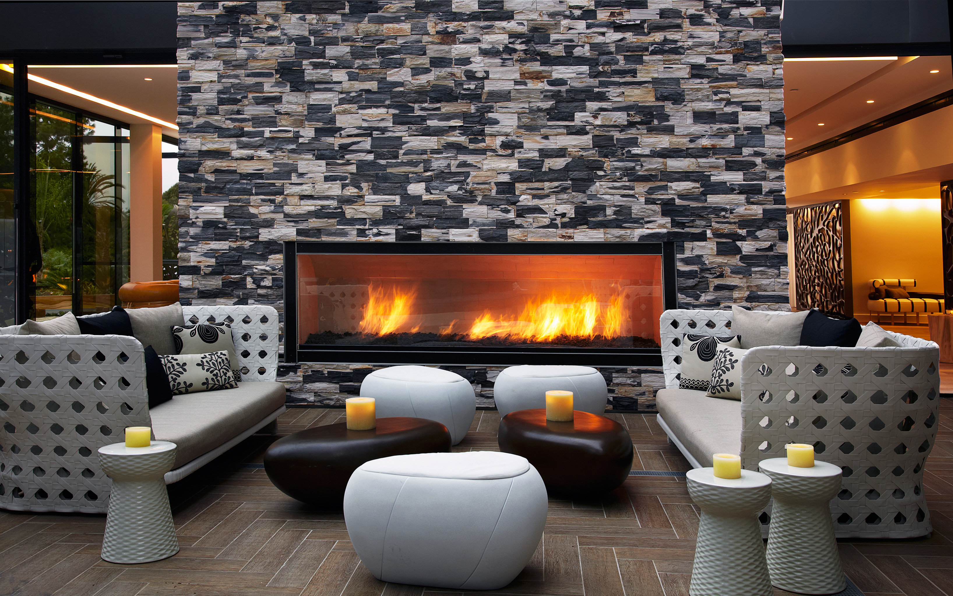 Fireplace Hip Hotels Lobby Lounge hearth living room wood burning stove home cottage stone