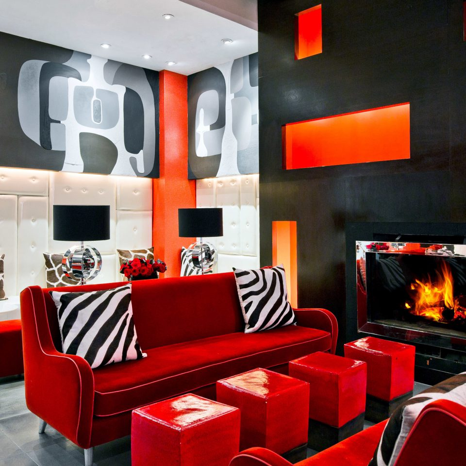 Fireplace Hip Lobby Lounge Modern red restaurant living room colored colorful