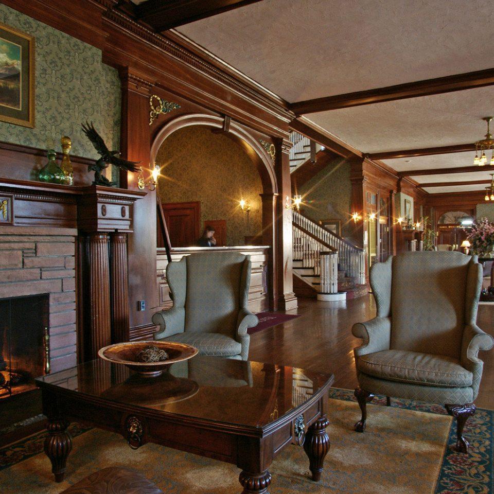 Fireplace Historic Hotels Lounge Resort property building Lobby home living room lighting mansion restaurant