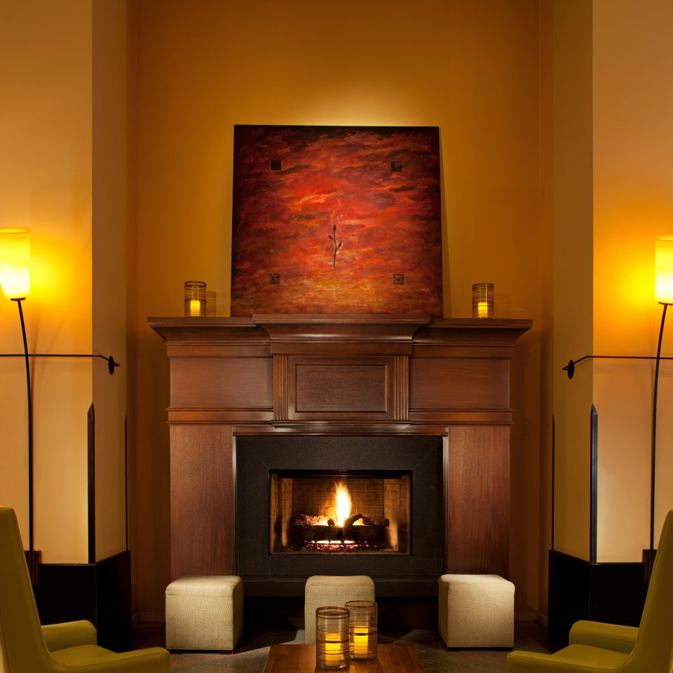 Fireplace Historic Lobby Lounge Modern hearth lighting living room