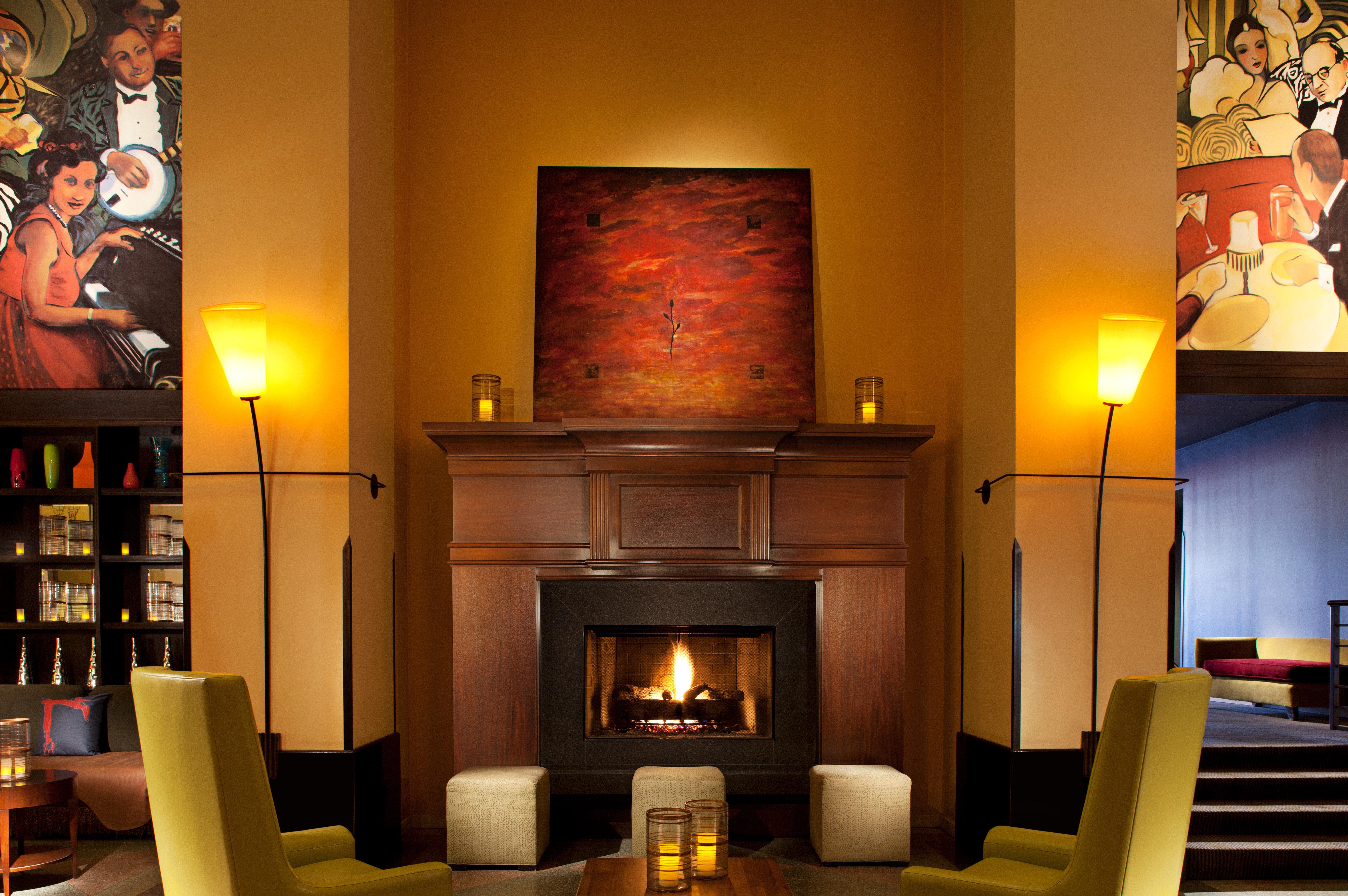 Fireplace Historic Lobby Lounge Modern hearth lighting living room