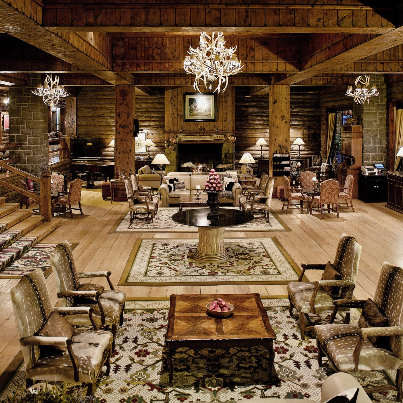 Fireplace Hotels Lobby Lounge Resort Rustic mansion restaurant ancient history
