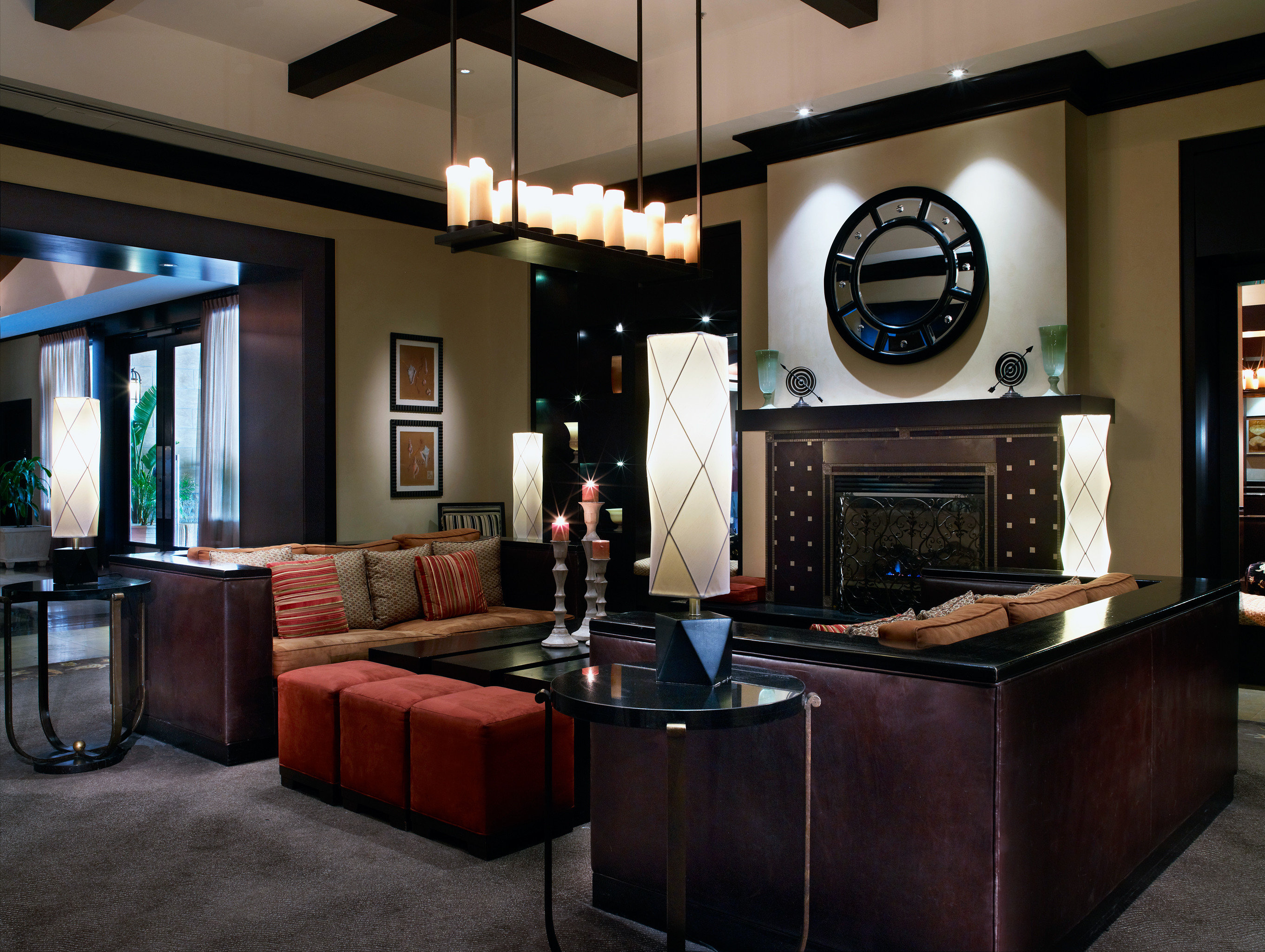 Fireplace Hotels Lobby Lounge Modern property living room home recreation room lighting